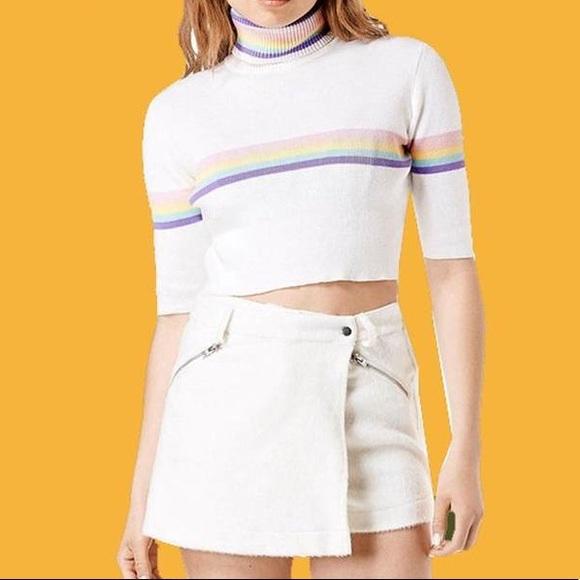 9354628654d American Apparel Tops - Rainbow Stripe Turtleneck Crop Top Relly Sweater ✨
